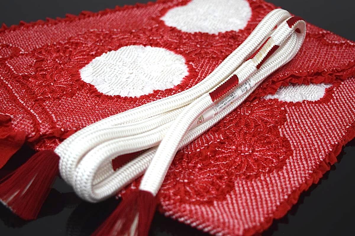 【日本製】【振袖用】【手組み】【変わり丸組】正絹帯締め「矢羽根(白×赤)」