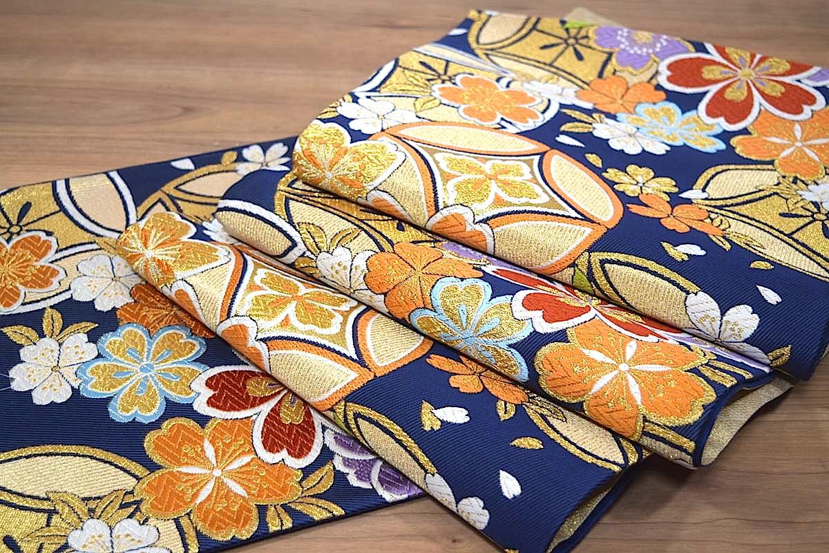 【西陣織工業組合証紙No.2362】【振袖用】【仕立上り】西陣織正絹袋帯「七宝に桜」ママ振り(ままふり)にもオススメです♪