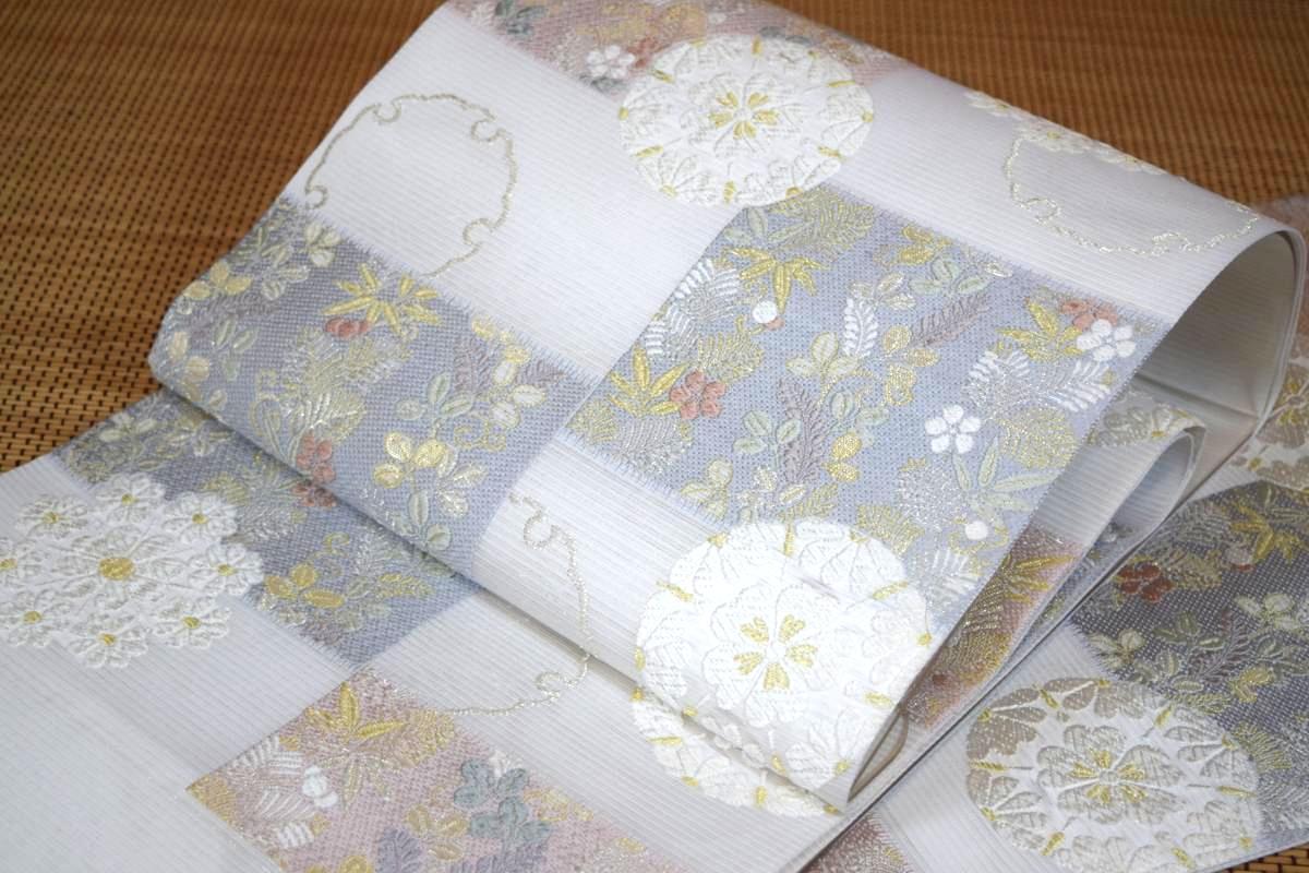【正絹】【志都香織物】夏帯・西陣織袋帯「花紋雪輪」【10P03Sep16】