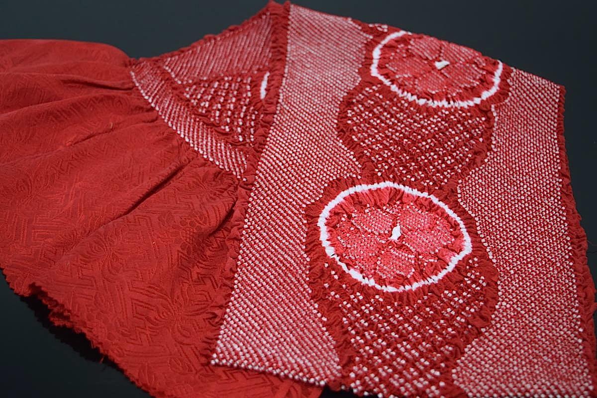 【振袖用帯揚げ】高級正絹総絞り帯揚げ「八重桜(赤)」