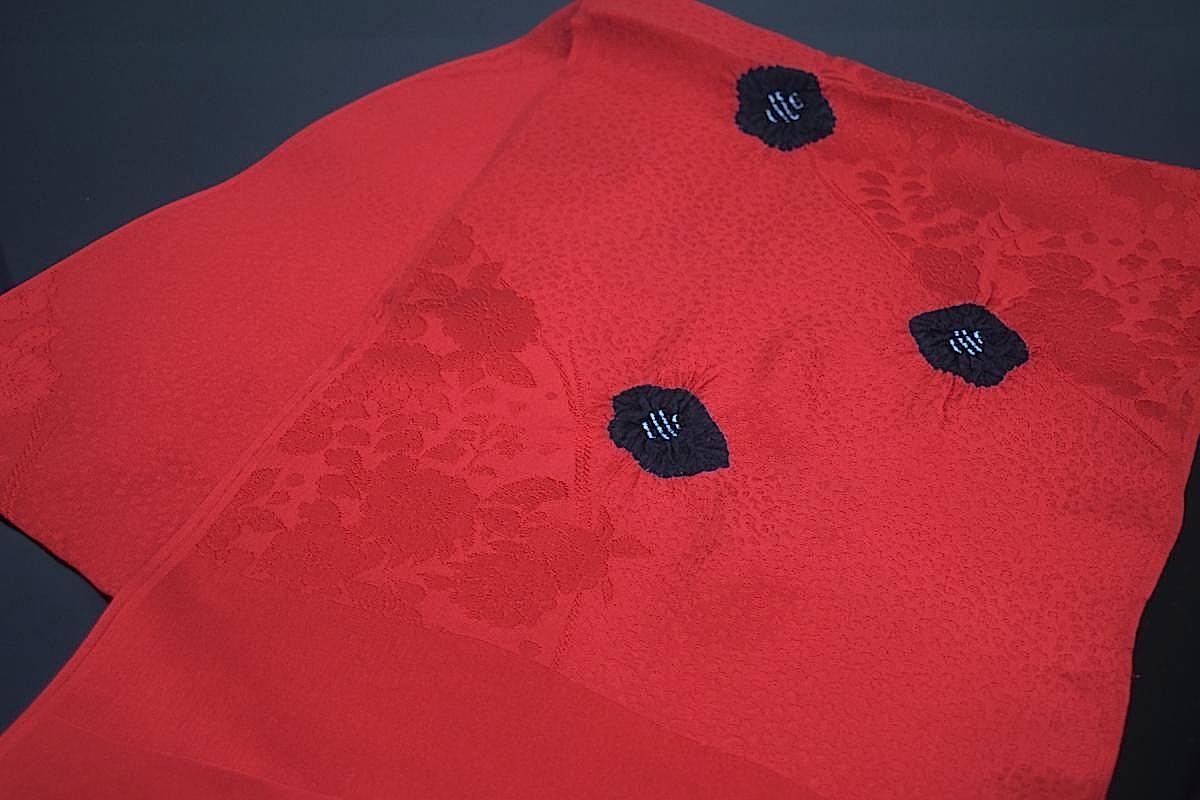【京鹿の子絞り】【倫だし帯揚げ】「梅の絞り(赤×黒)」