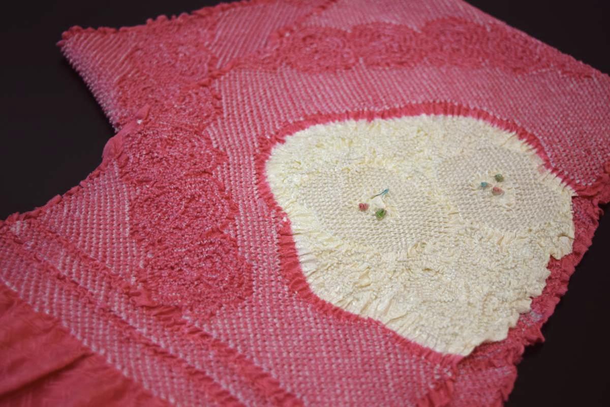 【振袖用】正絹総絞り帯揚げ(多色・濃いめピンクに白)