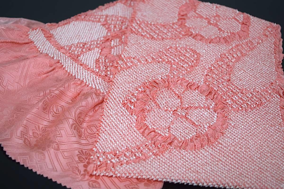 【振袖用帯揚げ】正絹総絞り帯揚げ「ローズピンク地に花」