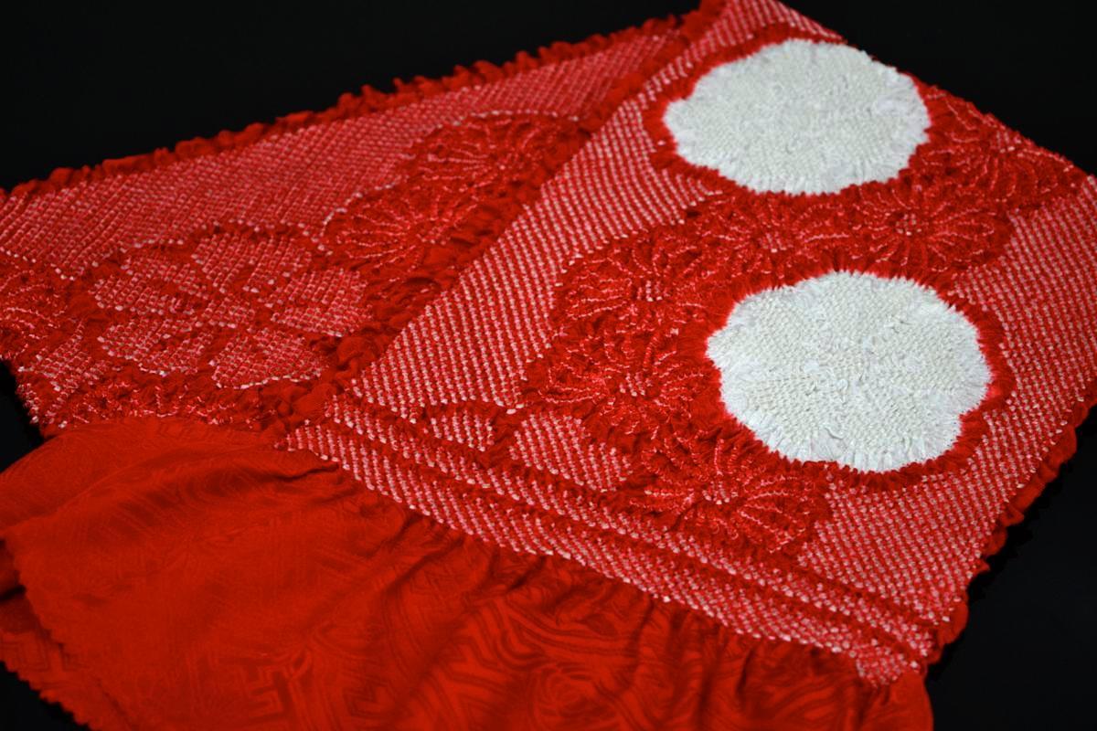 【振袖用帯揚げ】高級正絹総絞り帯揚げ「流れ桜(赤×白)」