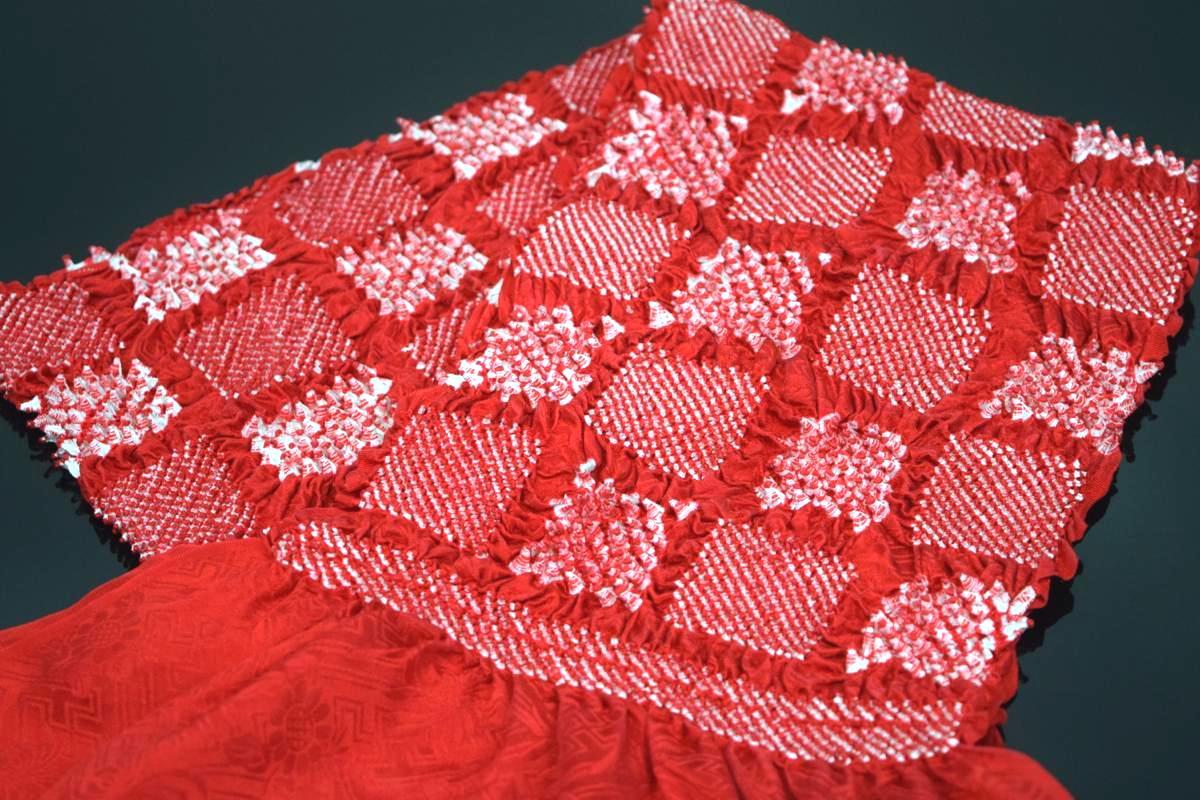 【振袖用帯揚げ】高級正絹総絞り帯揚げ「市松(赤)」