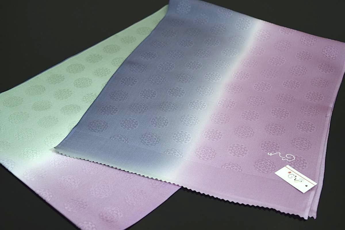 秋月洋子プロデュースれん帯揚げ日本製可愛い地模様入三色ぼかし染め帯揚げ2UMGLVqpSz