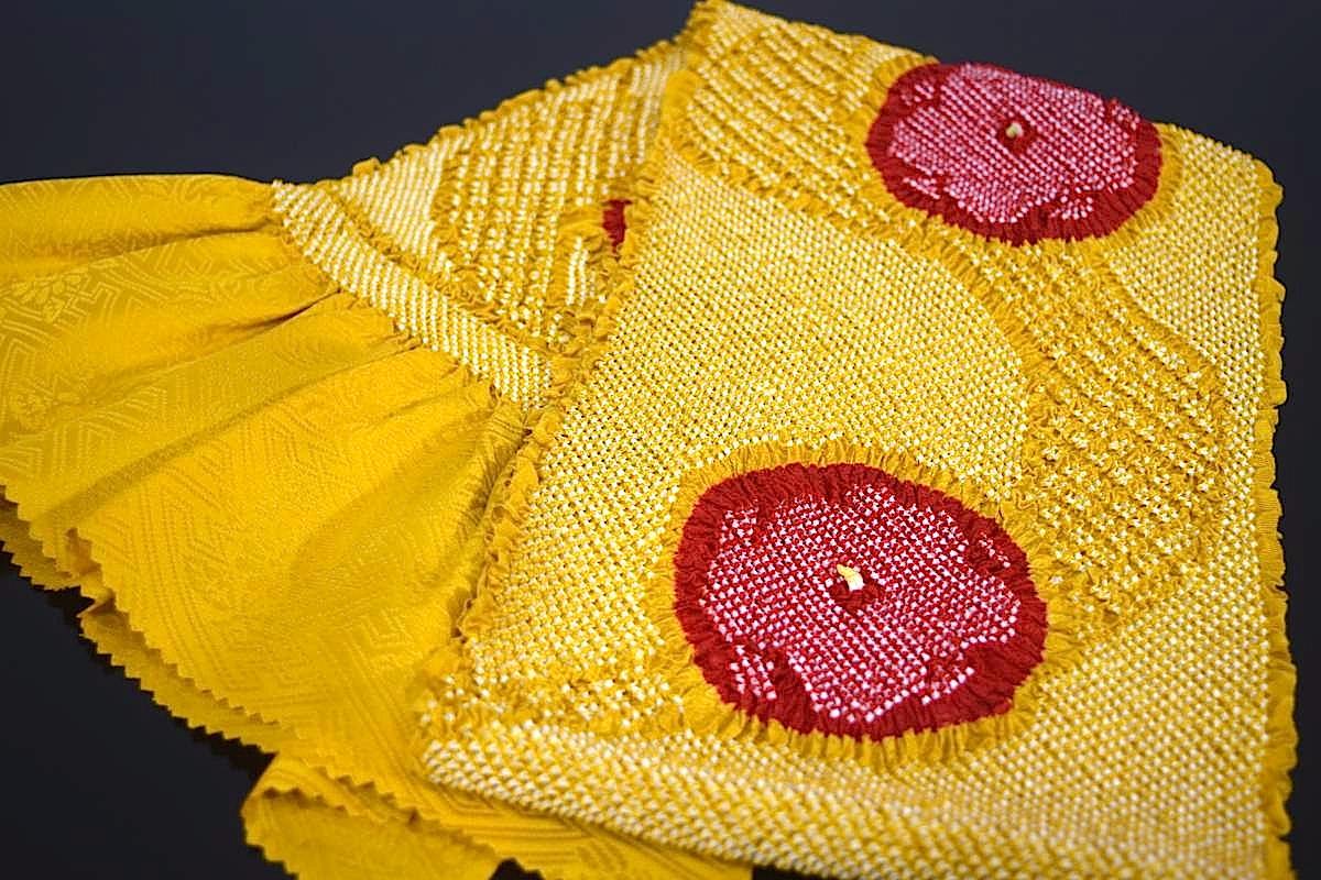 【振袖用帯揚げ】高級正絹総絞り帯揚げ「流れ桜(山吹色×赤)」
