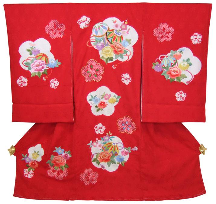 正絹初着(お宮参り着物・産着)女の子「赤地に絞りと刺繍のまりと花」【10P03Dec16】