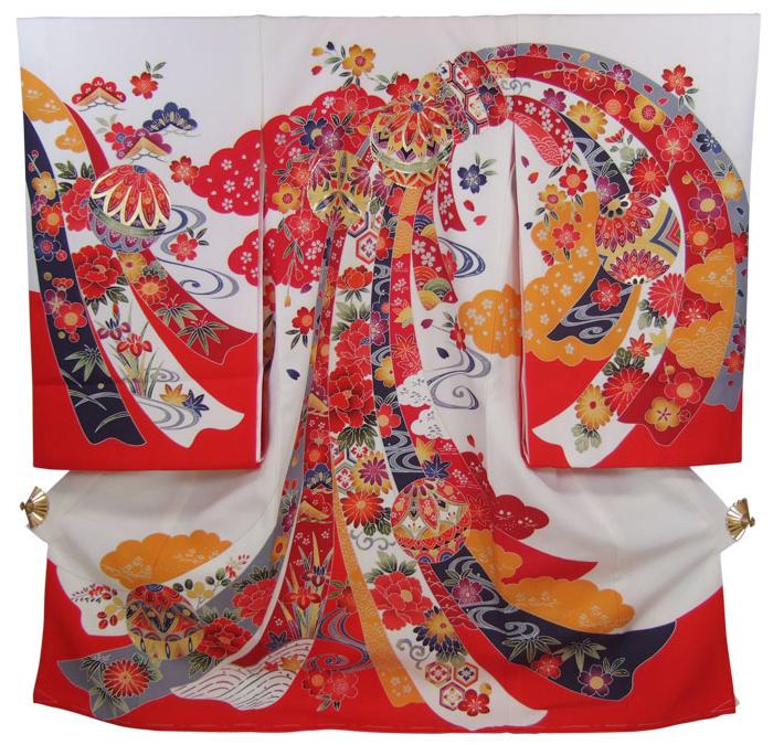正絹初着(お宮参り着物・産着)女の子「白地に紅型調・束ね熨斗に鈴と花」【10P25Oct14】