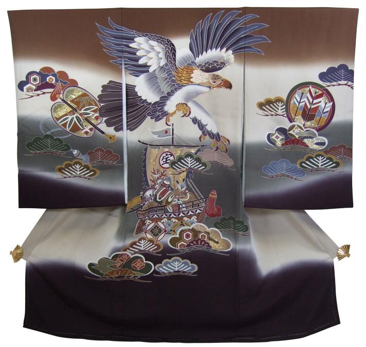 正絹初着(お宮参り着物・産着)「鷹と宝船(茶と黒のぼかし)」【10P03Dec16】