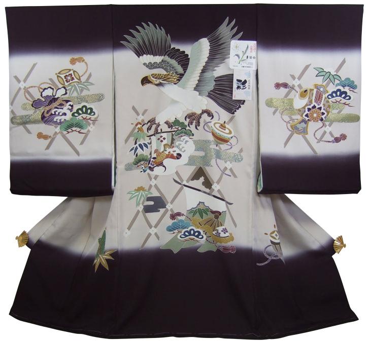 【広巾】正絹初着(お宮参り着物・産着)男の子「黒地ぼかしに鷹と宝づくし」【10P03Dec16】
