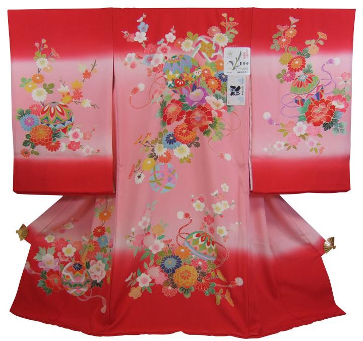 フードセットプレゼント 送料無料 七五三にも使いやすい 広巾 正絹初着 デポー 女の子 赤とピンクのぼかしにまりと花 産着 未使用品 10P03Dec16 お宮参り着物