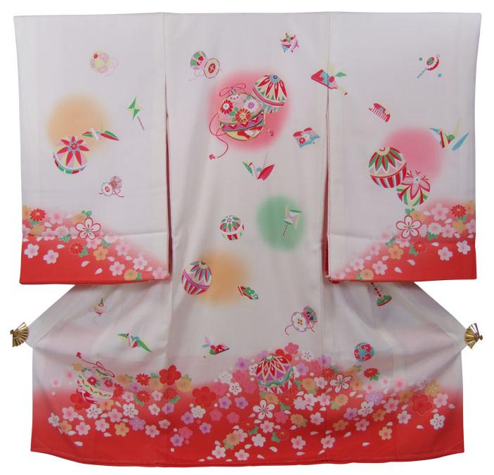 正絹初着(お宮参り着物・産着)女の子「白地ぼかしにまりと花と宝づくし」【10P03Dec16】
