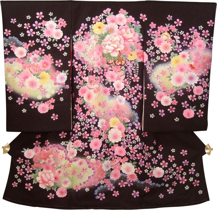 正絹初着(お宮参り着物・産着)女の子「黒地に花車とピンクの花づくし」