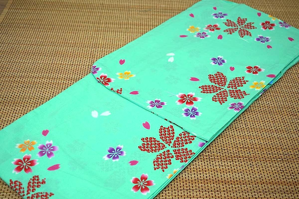 子供浴衣・ジュニア浴衣・女の子【150cm】日本製・注染本染めゆかた「若草色地に桜」