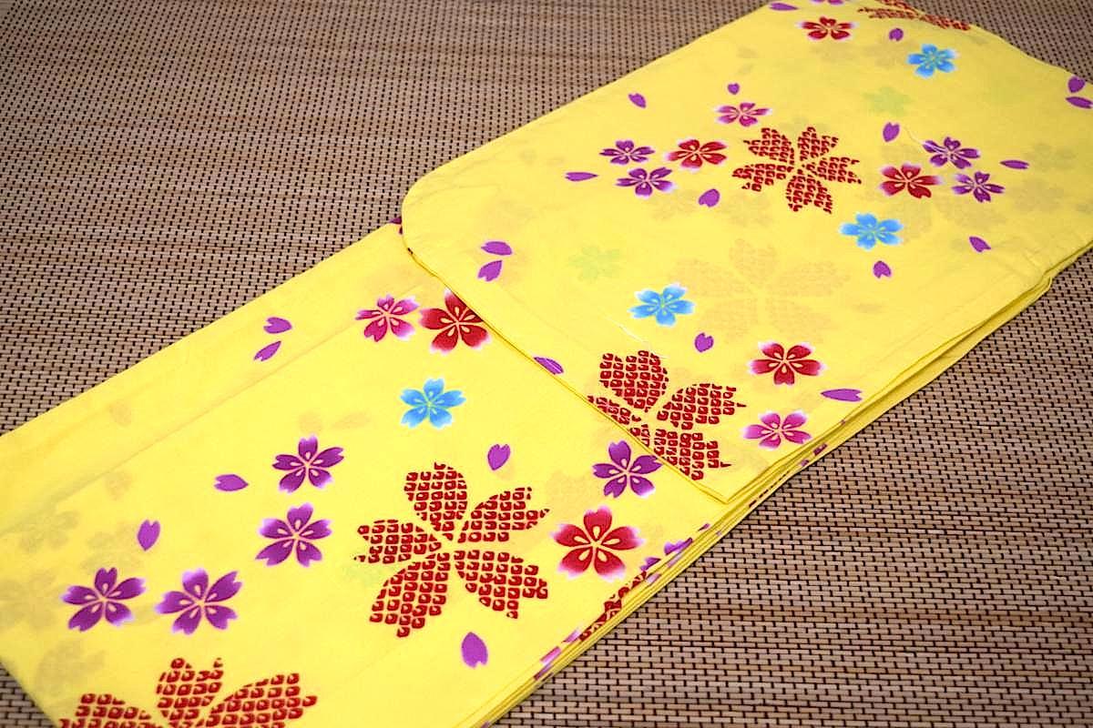 子供浴衣・ジュニア浴衣・女の子【150cm】日本製・注染本染めゆかた「黄色地に桜」