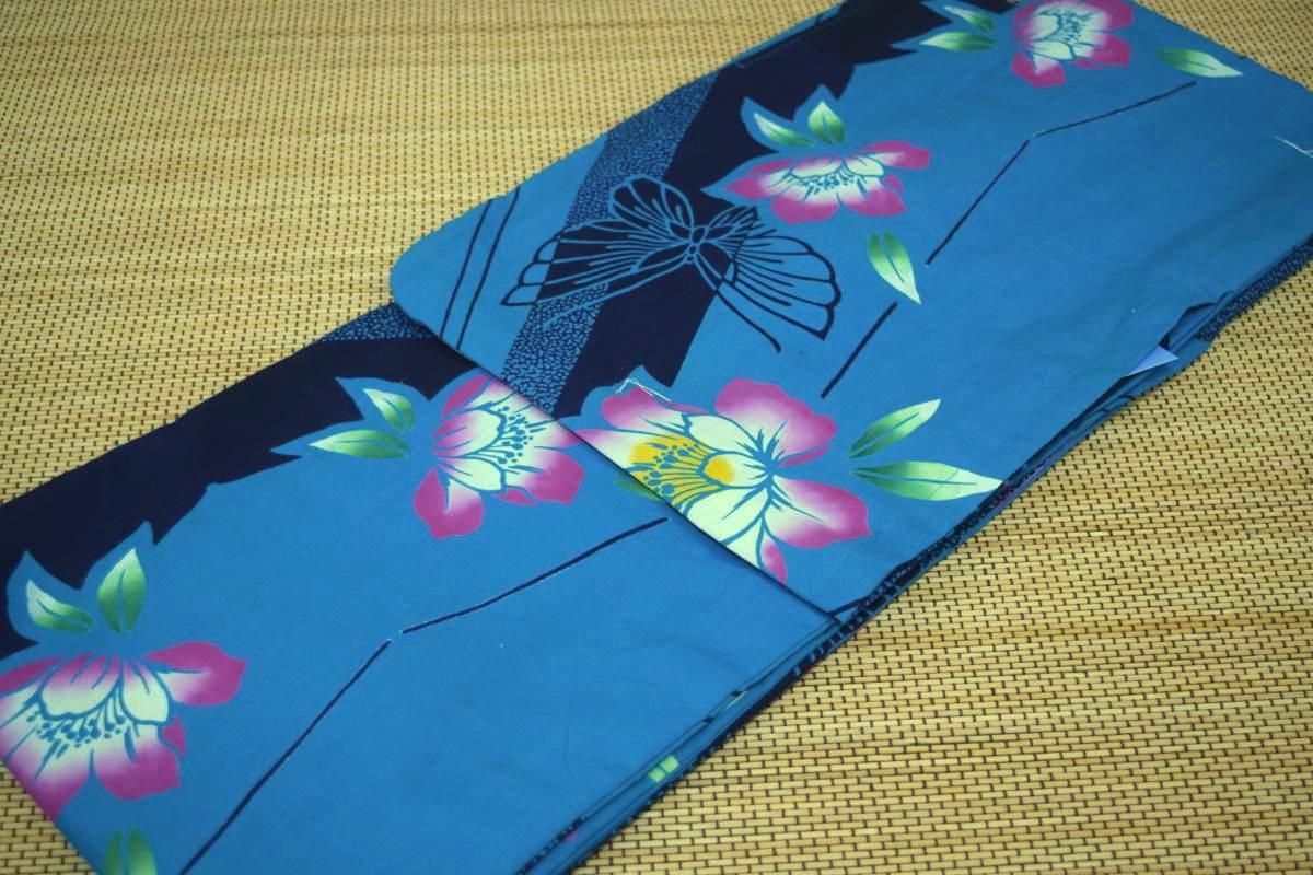 子供浴衣・ジュニア浴衣・女の子【150cm】日本製・注染本染めゆかた「花と蝶」