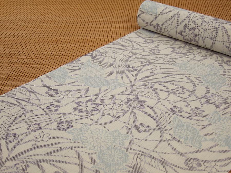 【日本製】【反物】浴衣(綿)「超長繊維綿ゆかた・白地に草花」【10P06Aug16】