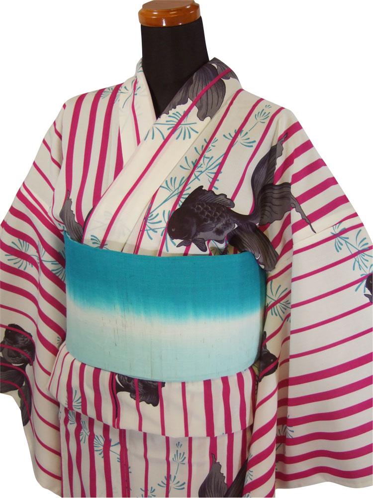 【撫松庵】仕立て上がり浴衣・プレタ浴衣(セオα)「金魚に縞(ローズ)」【10P03Sep16】