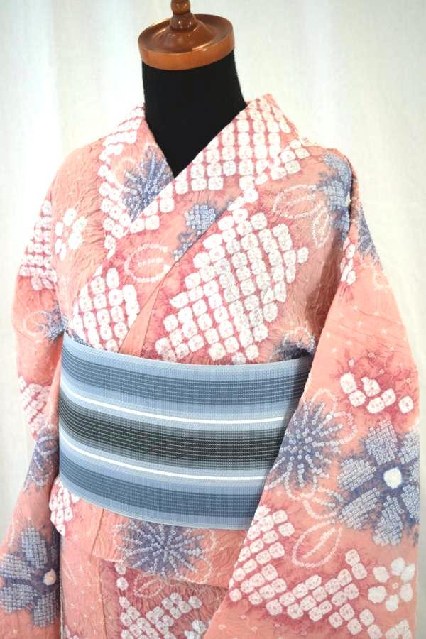【有松鳴海絞り】仕立て上り高級絞り浴衣「サーモンピンク地に花」