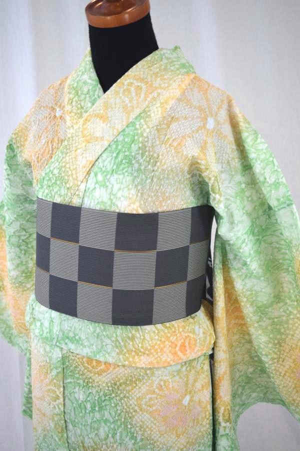 【有松鳴海絞り】仕立て上り高級絞り浴衣「緑と黄色地に花2」
