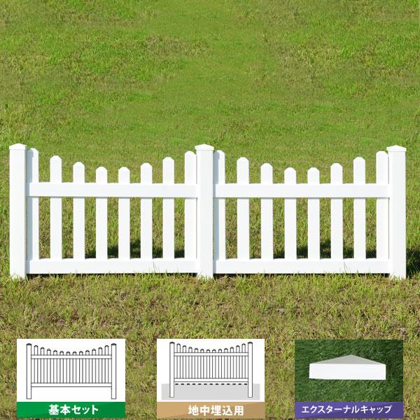 フェンス 樹脂 ホワイト アメリカン バイナルフェンス PVC 幅100cm 高さ90+(30)cm 基本セット 埋込用 ルーテッドスカラップドピケット EXキャップ RSC-E028