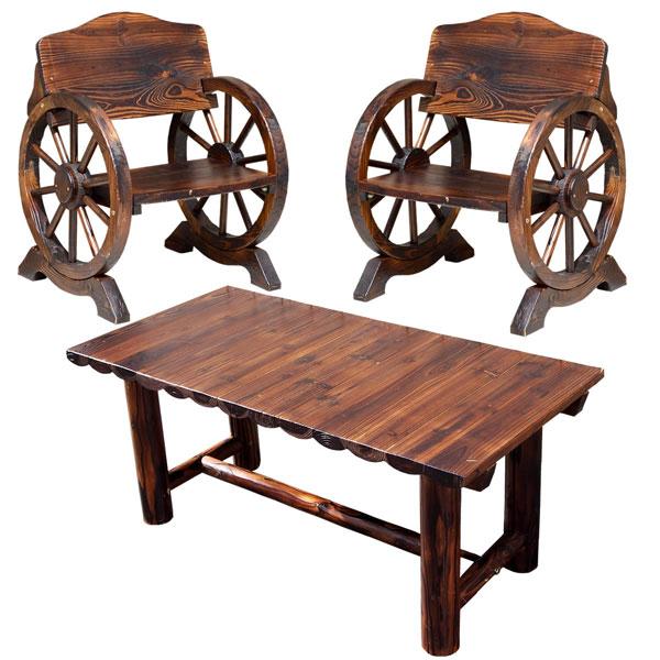 【50%OFF】 3点セット WBT650-3PSET-DBR:わくわく家具 テーブル×1 幅65.5cm 車輪ベンチ&焼杉テーブル 杉松天然木 ベンチ小×2 ヴィンテージ風ベンチ-エクステリア・ガーデンファニチャー