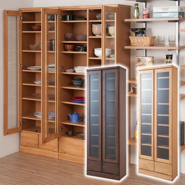 日本製 食器棚 開戸タイプ 幅60cm 薄型 奥行32cm カップボードハイタイプ 高さ180cm 天然木パイン材 完成品 TE-0038kc/TE-0042kc