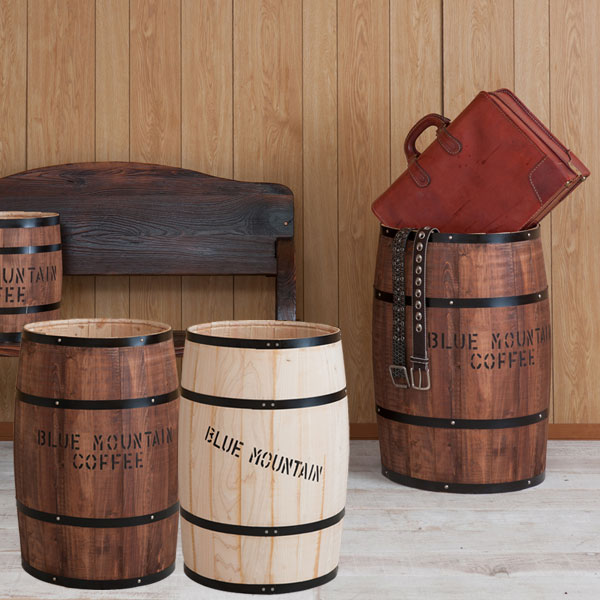 日本製 樽型収納 木樽 バレル 特大サイズ 直径42cm 高さ67cm コーヒー樽 アンティーク風 ヒノキ材 完成品 DT-0005NA/DT-0005BR