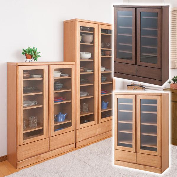 日本製 食器棚 開戸タイプ 幅80cm 薄型 奥行32cm カップボードロータイプ 高さ121cm 天然木パイン材 完成品 TE-0037kc/TE-0041kc