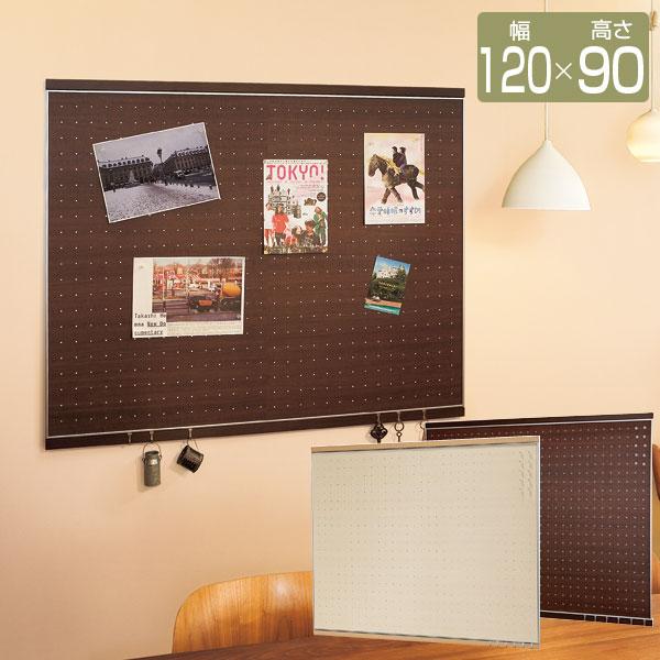 マグネットボード フック付 マグネット部 幅120cm 高さ90cm マグネット10個付 フック6個付 木目調ドットデザイン