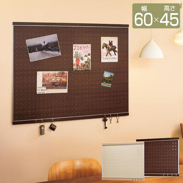 マグネットボード フック付 マグネット部 幅60cm 高さ45cm マグネット6個付 フック4個付 木目調ドットデザイン