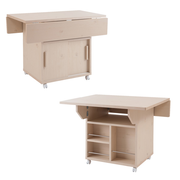 日本製 バタフライ カウンターテーブル 幅89.5cm バタフライテーブル キッチンワゴン キャスター付 完成品 NO-0105