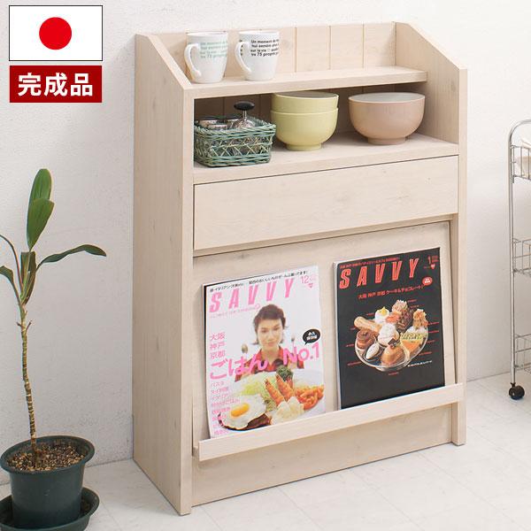 日本製 カウンター下 フラップ扉 引き出し ディスプレイ キャビネット 幅60.5cm 完成品 NO-0019