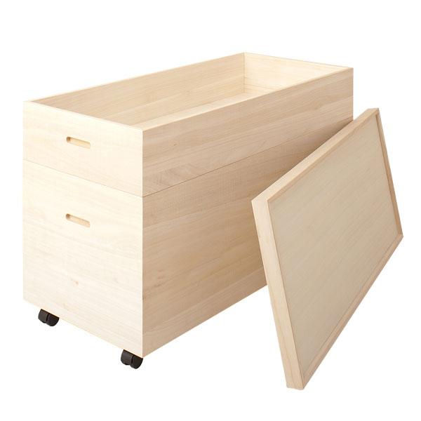 桐衣装箱 2段 桐収納ケース 高さ61cm(キャスター&スノコ付き)HI-0037