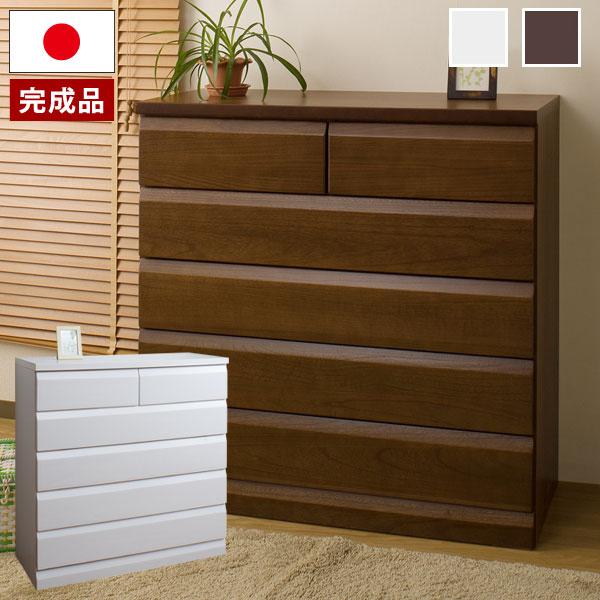 日本製 天然木桐チェスト 桐たんす 5段 幅98×奥行40.5×高さ99.5cm 完成品 TE-0050/TE-0054