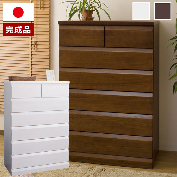 日本製 天然木桐チェスト 桐たんす 6段 幅80×奥行40.5×高さ117cm 完成品 TE-0049/TE-0053