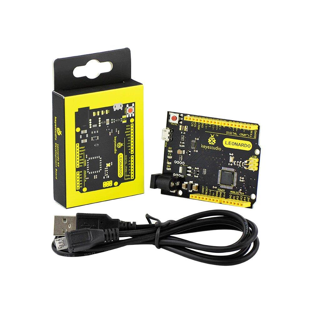 KEYESTUDIO 送料無料新品 Leonardo [並行輸入品] R3開発ボード+ USBケーブル for Arduinoと互換