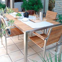【ガーデンファニチャーセット】天然木(チーク)ライズダイニングテーブル・アームチェアー5点セット(イス・テーブル)お庭 や テラス で アウトドア 気分!高品質な タカショー の ウッド ガーデンテーブルセット|ガーデン テーブル ガーデンチェア【送料無料】