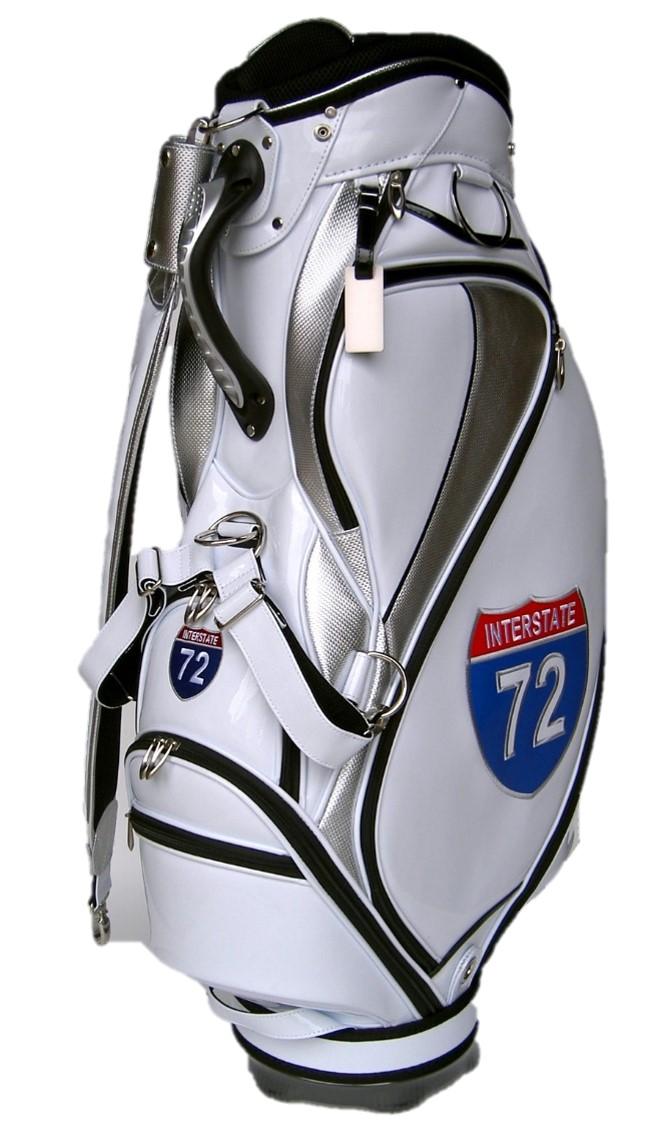 72(ホワイト)刺繍&パッチワーク仕上げ!ナンバー72付ゴルフキャディーバッグ!
