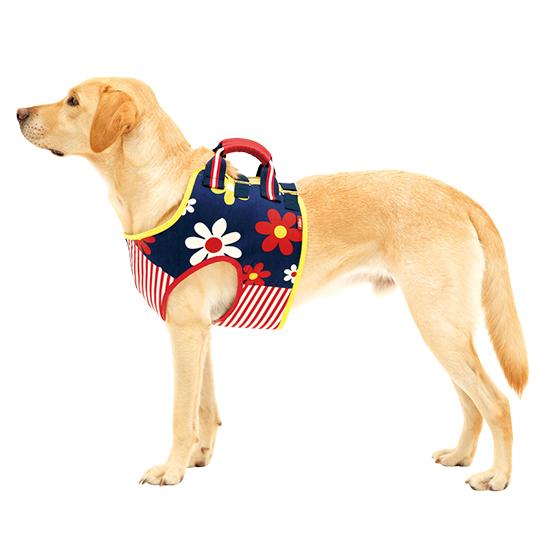 学生服の「トンボ」が犬用歩行補助ハーネスを開発しました。 犬 歩行補助 介護ハーネス 胴輪 LaLaWalk介助ベスト ハッピーフラワー[紺×赤ストライプ×柄] SS/S/M/L 犬 いぬ イヌ 老犬 介護用品 散歩 ドッグハーネス 介護用 補助器具 ハーネス リード 歩行補助 胴輪 ラブラドール シェパード ビーグル シバ 犬用 介護