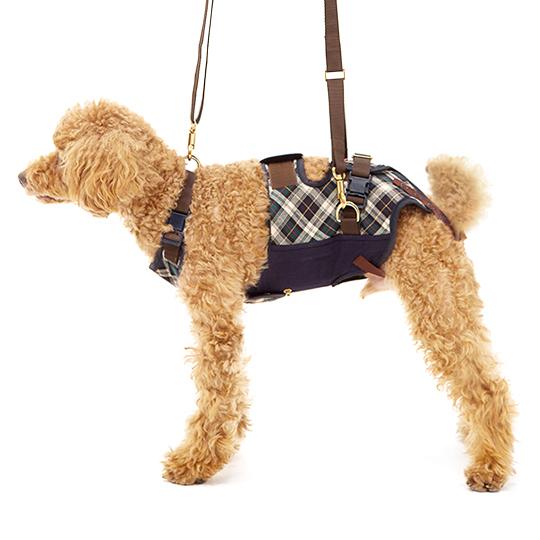 学生服の「トンボ」が犬用歩行補助ハーネスを開発しました。 犬 歩行補助ハーネス 介護 ハーネス 胴輪 LaLaWalk ララウォーク 小型犬 ダックス用 スクール(緑チェック)[緑チェック×ネイビー] S/M/L いぬ イヌ 老犬 介護用品 散歩 小型 ドッグハーネス 介護用 補助器具 ハーネス リード 歩行補助 胴輪 パグ 小型犬 犬用 介護