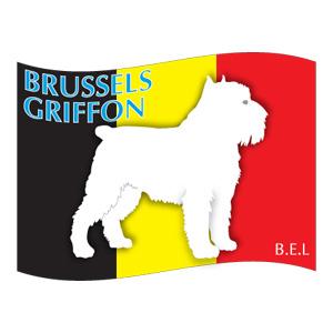 犬の産出国の国旗がバックでカッコいい ブリュッセルグリフォン メーカー公式ショップ グッズ ステッカーはた《Lサイズ》 ステッカー シール デカール 出色 シルエット 車 アクセサリー リア カー スーツケース 影 イヌ いぬ バイク 犬