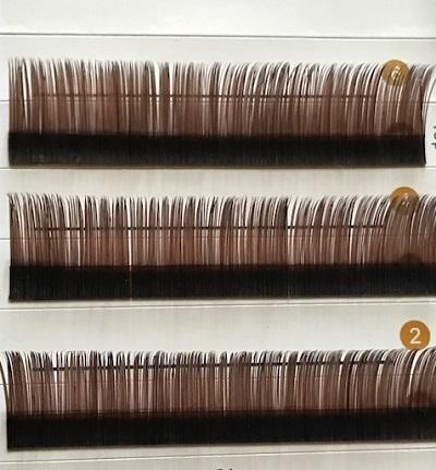 新登場 フラットラッシュ ブラウン 人気商品 特殊形状で持続力アップ2本の毛先でボリュームアップ カラーラッシュ 6列9 まつげエクステ 12mmMixタイプ Flatlash 超安い walea-lash 11 メール便送料無料