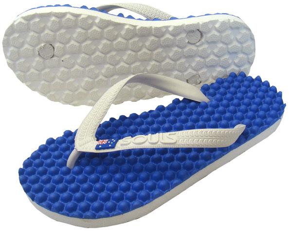 Beach sandal foot sole massage effect immensely Australia massage Sandals Souls ( souls ) ブルーモルディビアン / flag unisex
