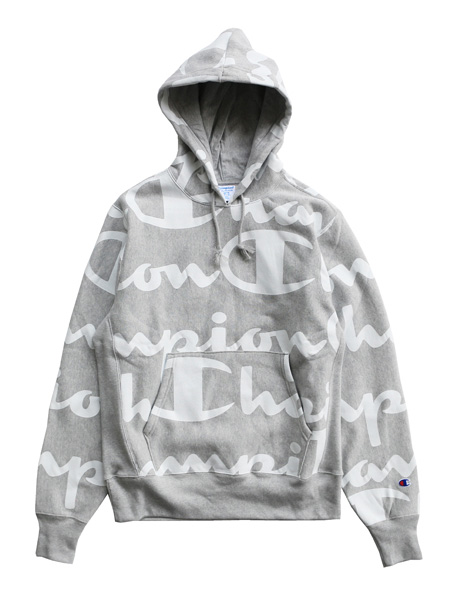 チャンピオン CHAMPION リバースウィーブフーディー ALL OVER PRINT REVERSE WEAVE PULLOVER HOOD -OXFORD GREY- メンズ US企画 グレー S/M/L/XL