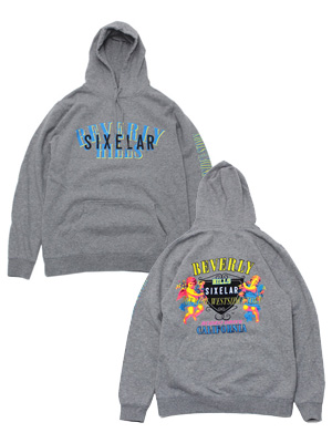 シクセラー SIXELAR フーディー BEVERLY HILLS ANGEL HOODIE -GREY- メンズ グレー M-XL _FAIR
