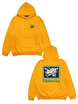 M-XXL -GOLD- Chilaxxx & プルオーバーフーディ TRAGEDY HOODIE グラフィック COMEDY チラックス ゴールド メンズ