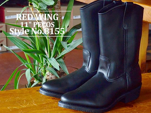 """紅翼紅靴 8155 11 英寸 Pecos RW 8155 11""""佩科斯黑鉻黑鉻工作靴和西方製造的美國"""