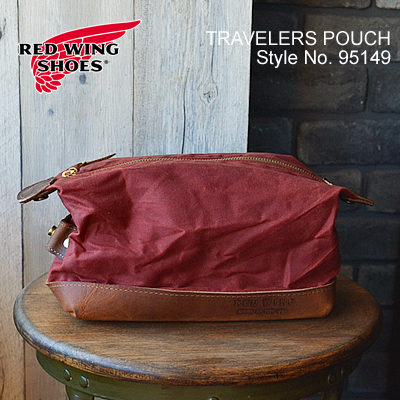 RED WING レッドウィング Travelers Pouch トラベルポーチ 【3.5リットル】 ワックドキャンバス レザー バッグ USA 米国製